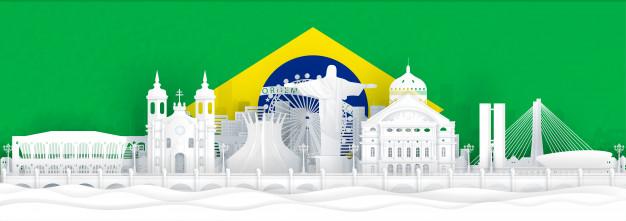 brazil flag famous landmarks paper cut style 41327 603